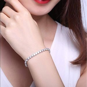 Jewelry - 18K White GoldPlated Round Cut CZ Diamond Bracelet